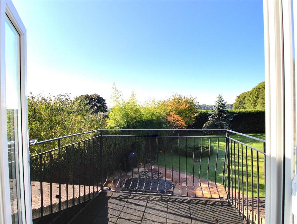 Balcony views across farmland, and the edge of the Ludgrove estate